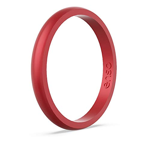 Enso Rings Halo Birthstone Silicone Ring | Made in The USA | Lifetime Quality Guarantee | Comfortable, Breathable, and Safe (Ruby, 3)
