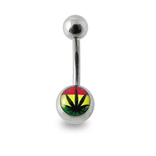 Rasta Marijuana Logo Picture 14 Gauge 316L Surgical Steel Curved Barbell Belly Button Ring