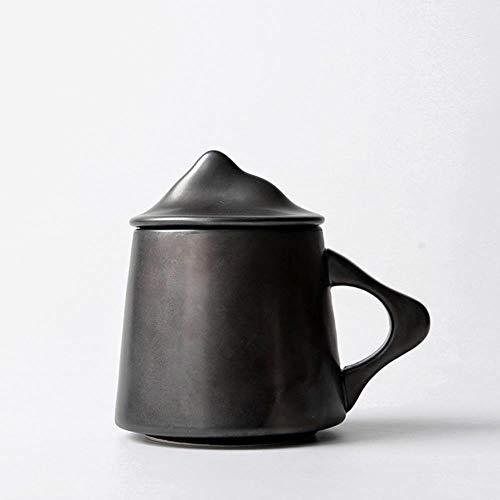 Tazza Caff Mug Breve Tazza Da Caffè A Forma Di Montagna Con Coperchio Tazze In Ceramica Personalizzate Per Latte Tazza Da Ufficio Per Colazione, C