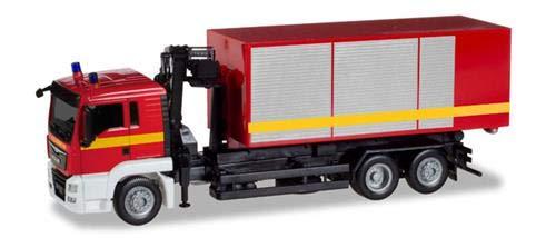 Herpa 93705 - Man TGS L Abrollwagen mit Kran Feuerwehr, farbig