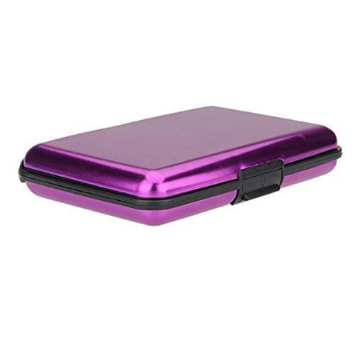 Aluminio Tarjeta de crédito Nombre tarjeta de visita tarjetero impermeable Monedero de bolsillo Case Box–violeta