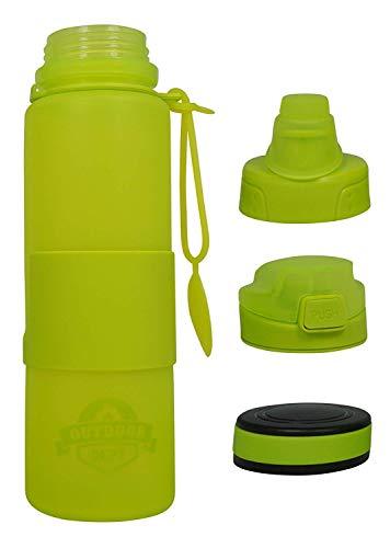 OUTDOOR DEPT Faltbare Trinkflasche aus BPA freiem Silikon   650 ML, Grün, Spülmaschinenfest, Wasserflasche, Falt-Flasche aufrollbar für Sport, Fitness, Schule, Kita, Kindergarten Arbeit, Reise, Sport