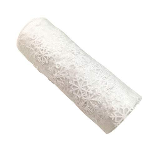 Artibetter Christmas Snowflake Tulle Roll Glittering Organza Gauze Ribbon 15cm 10Yards (White)