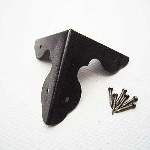 tggh Protector de esquina, 12 unidades, color negro antiguo, caja de regalo, caja de regalo, protector de esquina con clavos (color negro pesado 33 mm)