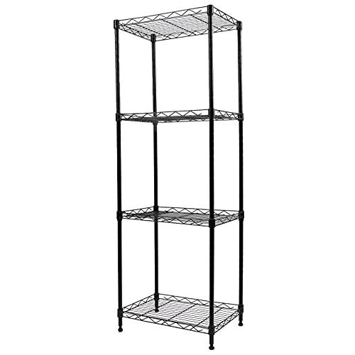YOHKOH 4-Tier Wire Shelving Unit Metal Storage Rack Adjustable Organizer Perfect for Pantry Laundry Bathroom Kitchen Closet Organization (Black, 16.8L x 12W x 49H)