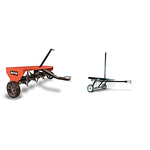 Agri-Fab 45-0299 48-Inch Tow Plug Aerator,Orange & Black,Large & 45-0295 48-Inch Tine Tow Dethatcher,Black,Medium