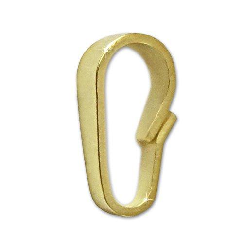 CLEVER SCHMUCK Goldener kleine Anhängerschlaufe für Anhänger Ersatzteil 6,5 mm lang und glänzend für Anhänger 333 Gold 8 Karat für Austausch, kleine Reparaturen an kleinen Goldanhänger Kettenanhänger