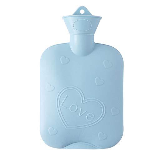 SANJIANG Botella De Agua Caliente Botella De Agua Caliente De Caucho Natural 1000 Ml - Bolsa De Agua Caliente Mantener El Cuerpo Caliente,Blue
