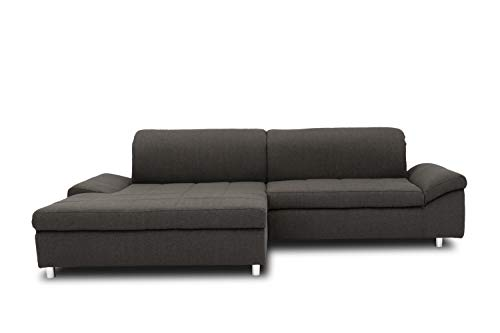 DOMO Collection Mika Ecksofa, Sofa in L-Form, Eckcouch Eckgarnitur, 260x178x80 cm, Polsterecke in anthrazit