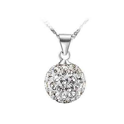 Damen-Schmuck Halskette und Ohrringe Sterling-Silber 925 Kristalle Anhänger Kugeln 10mm