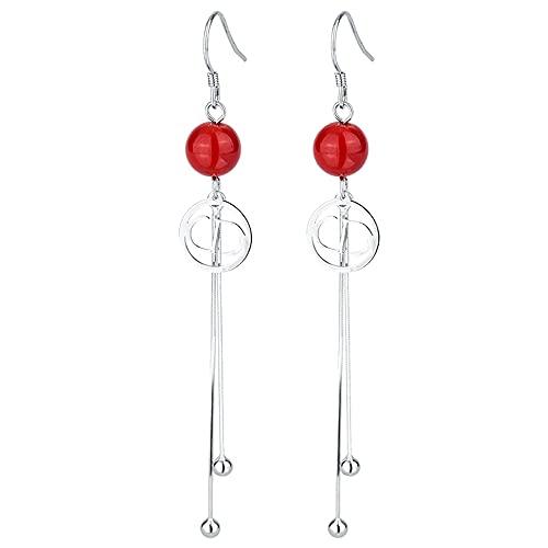 AZPINGPAN S925 Pendiente de Plata esterlina Crabapple Flower Ear Line, Versión Coreana Perlas Rojas de Moda Hebilla de Oreja Larga y Simple, Lady Best Gift Party Jewelry