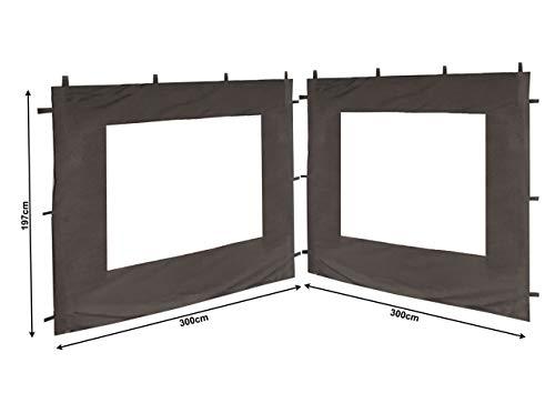 QUICK STAR 2 Seitenteile mit PVC Fenster für Blätter Pavillon 3x3m Grau