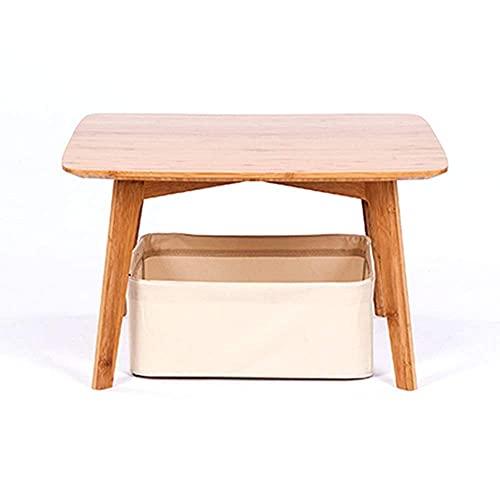 Tavolino Moderno Tavolino Quadrato Piccolo Soggiorno Camera Da Letto Tavolo Da Tè In Bambù Con Cesto Portaoggetti - Montaggio Facile (19,6X19,6X11,8 Pollici)