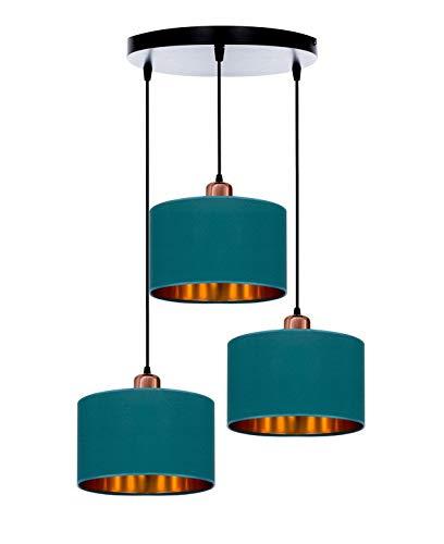 Lámpara de techo o pared, lámpara de mesa, lámpara de techo, color negro, gris, azul oscuro, turquesa, lámpara vintage moderna de diseño, serie TAD30-03 (turquesa)