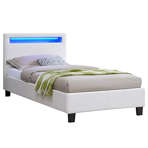 IDIMEX Lit Simple pour Adulte ou Enfant LUCENO Couchage 90 x 190 cm avec sommier 1 Place pour 1 Personne, tête de lit avec LED intégrées, revêtement synthétique Blanc