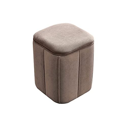 HFVDA Stoff Niedriger Hocker, Mode-Square-Hocker, bequemer Make-up-Hocker, Wohnzimmer Tee-Tischhocker, einfacher Sofa-Hocker, Eingangshocker (Color : Gray)