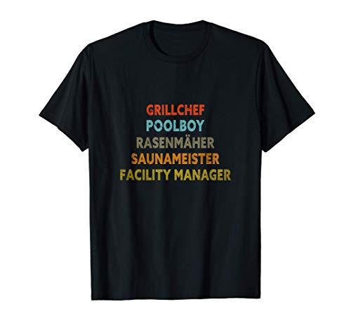 Herren Grillchef Poolboy Saunameister | Vater Vintage Retro Herren T-Shirt