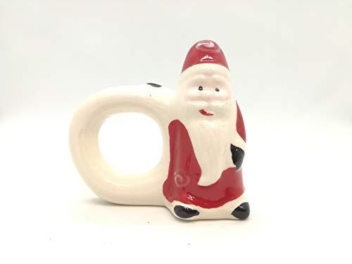 ilchioscodelregalo.it Set 6 Pezzi PORTATOVAGLIOLI SEGNAPOSTO Babbo Natale in Ceramica