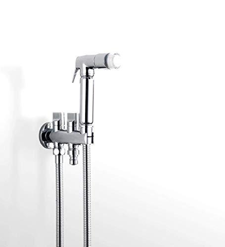 XUSHEN-HU Grifo de acero inoxidable para bidé de pared de acero inoxidable para inodoro mezclado grifo de bidé con agua de montaje en pared con una sola mano, rociador de bidé cromado
