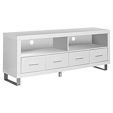Monarch Specialties I 2518, TV Console with 4 Drawers, White, 60  L