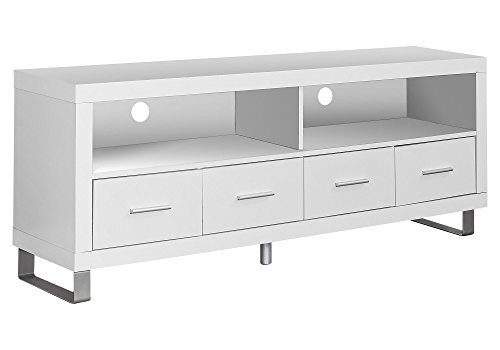 """Monarch Specialties , TV Console with 4 Drawers, White, 60""""L"""