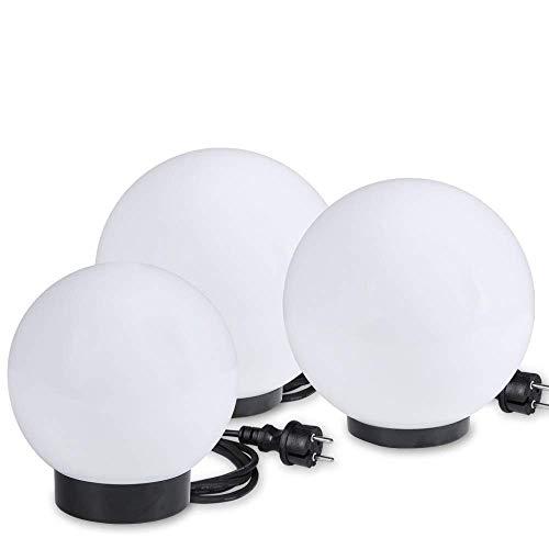 Kugelleuchten 3er SET, Gartenbeleuchtung 15 cm, 20 cm & 25 cm Ø, Außenleuchten, weiße Gartenlampen, Innen & Außen, Gartenkugeln für Energiesparlampen E27 & LED - 230 V & 20W, Kugellampen mit IP44