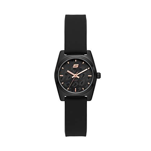 Skechers Women's Shoup Alloy Steel Quartz Watch with Silicone Strap, Black, 14 (Model: SR6218)