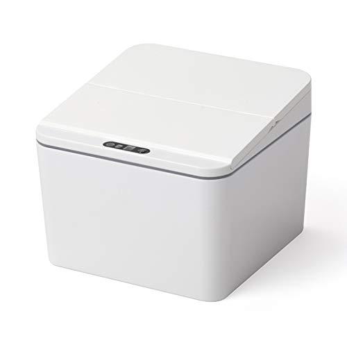 Bote de basura La basura cuadrada de la basura de la basura de la plataforma de plástico inteligente de plástico puede lata de basura automática con tapa para mesa de comedor y cabecera Papelera