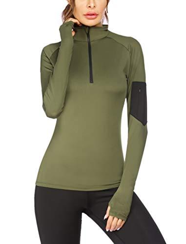 ADOME Sportshirt Damen Langarm Laufshirt Sporttop Atmungsaktiv Sports Shirt Trainingsshirt Yoga Funktionsshirt mit Daumenlöcher und Reißverschlusstasche L, Grün