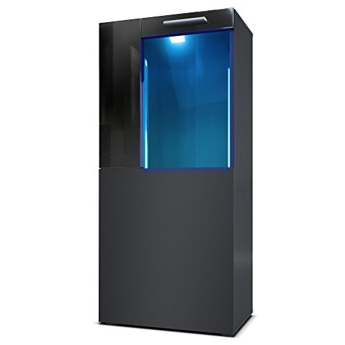 Standvitrine Hängevitrine Movie, Korpus in Schwarz matt, Fronten in Schwarz matt und Schwarz Hochglanz mit Blauer LED Beleuchtung