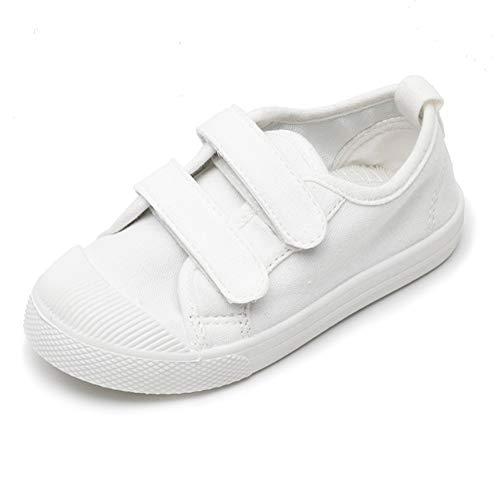 Zapatillas de lona para niños y niñas, informales, a la moda, Blanco (Blanco), 23 EU