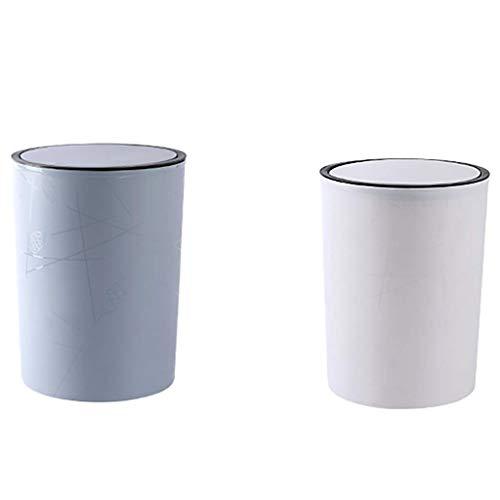 AYDQC Papelera PP redonda de mano para prensar residuos contenedor de basura para baño, dormitorio, cocina, sala de manualidades, oficina, escuela, escritorio (color: azul+blanco, tamaño: S) fengong