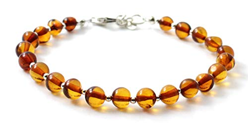 TipTopEco Baltic Amber Adult Bracelet with Silver - 7 inches - Polished Green Beads - Women or Men (Cognac, 7.9)