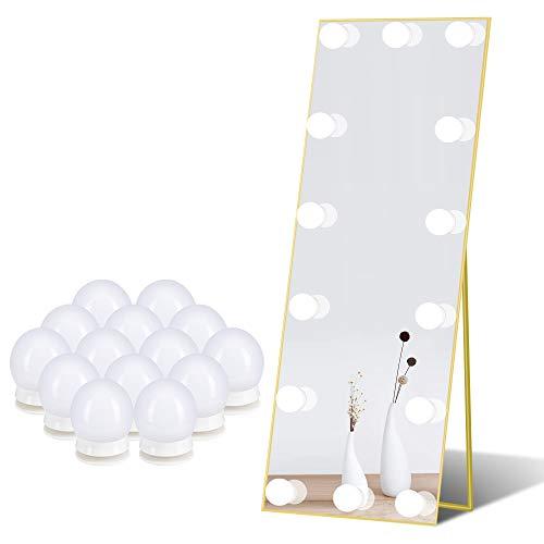 Spiegel-Leuchten für Schmink-Tisch Kosmetik-Lampen für DIY Hollywood Make-up-Spiegel, LED-Birnen mit Touch-Sensor-Dimmer und Netzteil, 14 Lampen / 6 Meter, Spiegel nicht im Lieferumfang enthalten