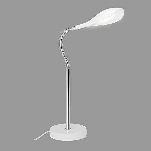 Briloner Leuchten LED Tischleuchte, Tischlampe Schnurschalter, inkl. Flexschlauch, 500 Lumen, 3.000 Kelvin, Chrom-Weiß, 4.5 W