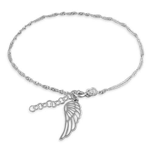 925 Sterling Silver Angel Wing Charm Anklet