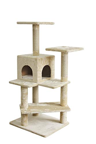 Amazon Basics Cat Tree Tower with Cube  29 x 26 x 51 Inches Beige