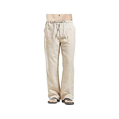 Wzdszuilck Pantalones Hombre, Pantalones de pierna ancha de lino Hombres de gran tamaño Pantalones de lino casual sólido Gran tamaño grande 5XL Ropa de streetwear ropa de hombre de verano pantalones n
