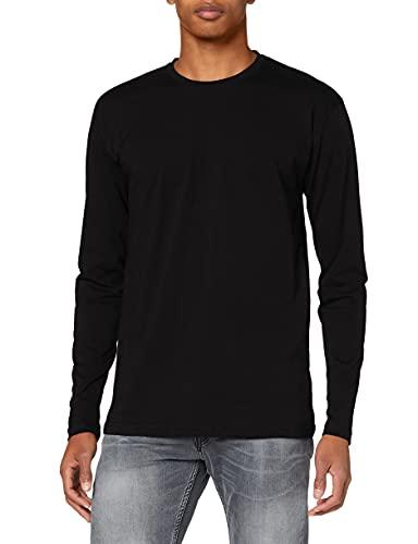 Lower East 5er Pack schwarze Herren Langarm-Shirts mit Rundhalsausschnitt aus 100{60b75913b631712baec55ee9b16fb6bfe43475cd18eb032d2dc2b4b8f3d134de} Baumwolle, Schwarz, XL