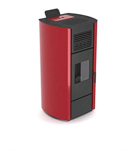 Stufa a pellet canalizzabile. Potenza resa in riscaldamento 13 kW. Dimensioni L 59,1 x P 55,6 x H 121,1 cm. Estetica Rossa.