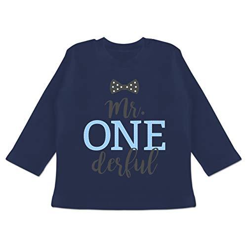 Geburtstag Baby - Mr. One Derful Schleife - 12/18 Monate - Navy Blau - t Shirt Baby 1 Jahr - BZ11 - Baby T-Shirt Langarm