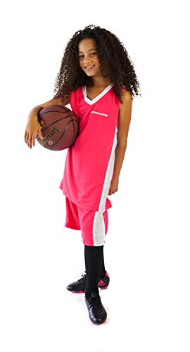 PAIRFORMANCE Boys' Basketball Jerseys Shirt Sports Shirts and Athletic Shorts Set for Youth Kids Age 4-12 Team Uniforms (Dark Pink, Small) Girls Basketball