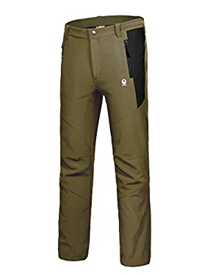 Little Donkey Andy Men's Winter Hiking Ski Snow Pants, Softshell Insulated Pants, Fleece Lined, Water Repellant Olive Green Size L