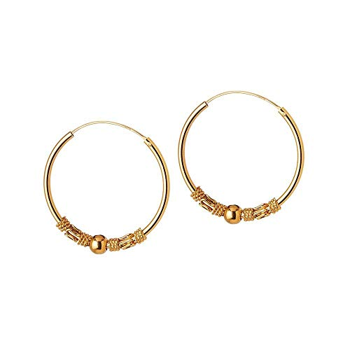 Gold Plated Bali Hoop Earrings Niaga