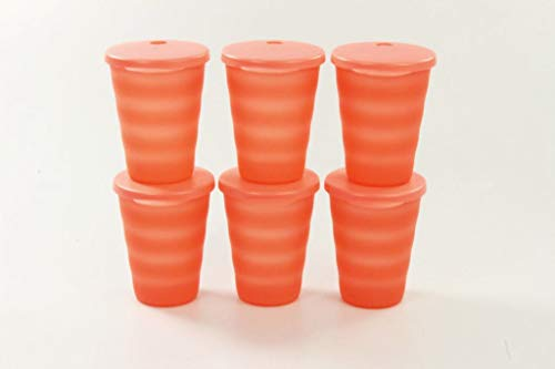 TUPPERWARE Gobelet Flash avec paille 330 ml orange pastel (6)