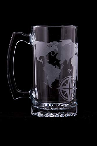 World Map Etched Glass Beer Stein - 20oz