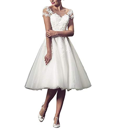 Nanger Dames tule kant bruiloftsjurken korte short Standesamt Boho Bohemian bruidsjurken Wedding Dress