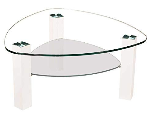 tischdesign24 Lindau61998-A Couchtisch 12mm Glasplatte Wankelform. Gestell mit Rollen. Tischplatte 90x90cm Wankelform Klarglas - Satinoglas Ablage Gestell: Weiß Hochglanz Gestell 80x80mm - 49cm Höhe