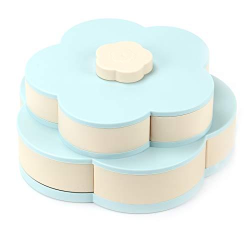 MorNon Bloom Snack Box Muster Rotierende Doppel Obstschale Doppel Candy Box Für Zuhause, Büro, Hochzeit etc