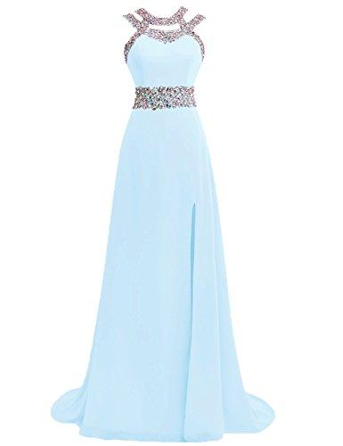 Ballkleider Abendkleider Lang Damen Festkleider Hochzeitskleider Chiffon A Linie Eisblau EUR44